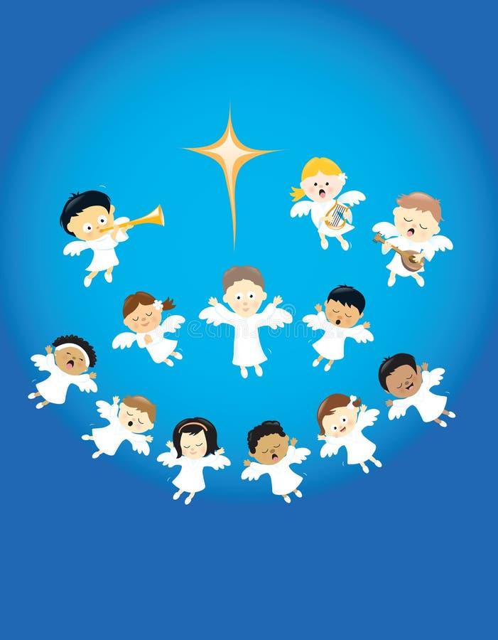 Anjos que elogiam o nascimento de Jesus ilustração do vetor