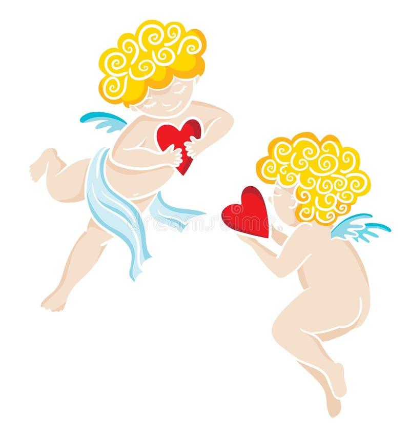 Anjos tirados mão com coração Valentim ou cartão de casamento ilustração do vetor