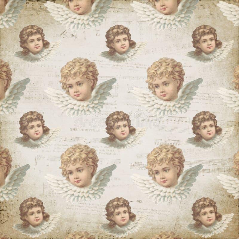 Anjos vitorianos do vintage - anjo pastel - partitura - papel de fundo modelado de Digitas - projeto do papel de envolvimento ilustração royalty free