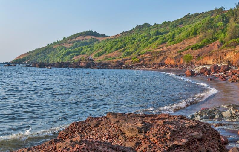 Anjuna Beach Goa, India. Beautiful panoramic view of Anjuna Beach Goa India royalty free stock photography