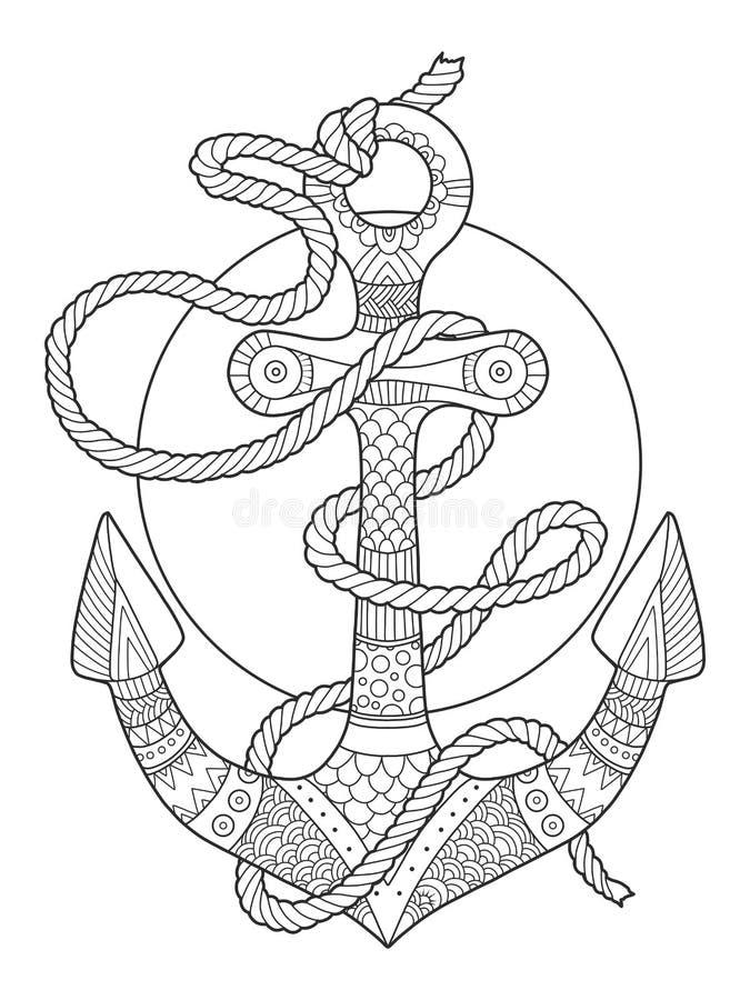 Ankar- och för repfärgläggningbok vektorillustration royaltyfri illustrationer