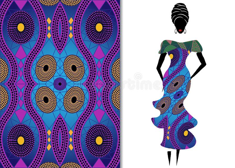 Ankara clothing woman, African Print fabric, Ethnic handmade ornament for your design, Ethnic and tribal motifs geometric elements. Texture, afro textile royalty free illustration