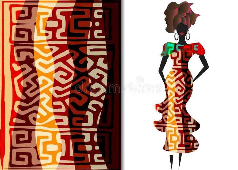 Ankara clothing woman, African Print fabric, Ethnic handmade ornament for your design, Ethnic and tribal motifs geometric elements. Ankara clothing woman in vector illustration