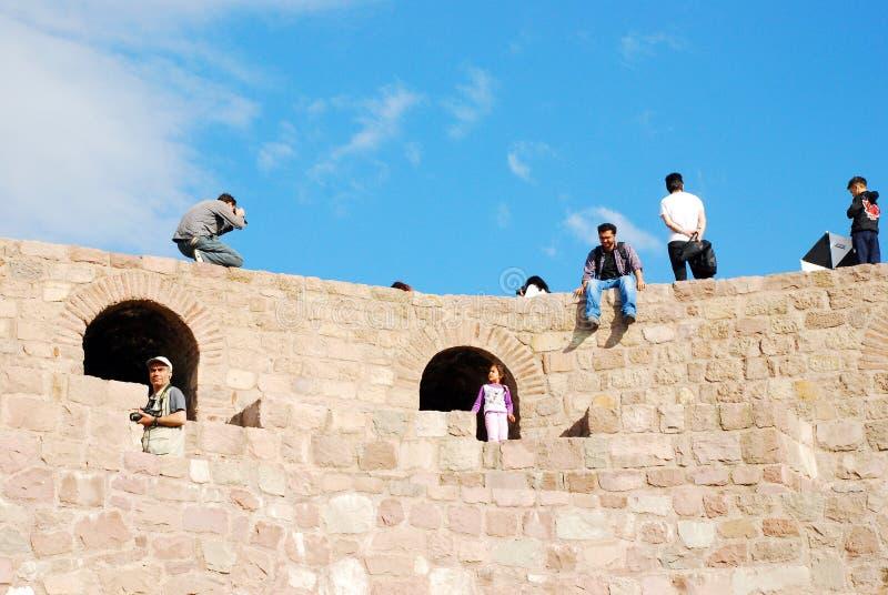 Ankara castle. Tourists on the Ankara castle and blue sky background stock photography