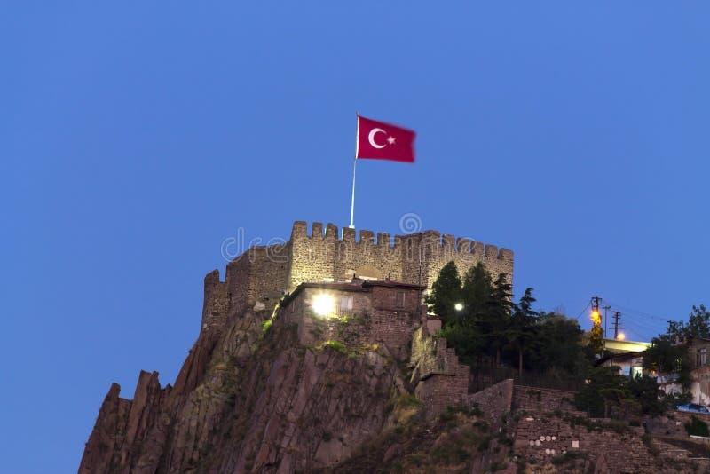 Ankara Castle - Night. Ankara castle with Turkish flag at night, Ankara, Turkey stock photo
