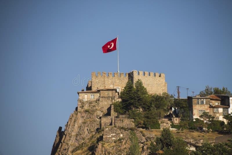 Ankara Castle. With Turkish flag, Ankara Turkey stock image