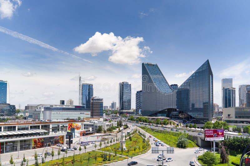 Ankara, czerwiec 23 2019/: Panoramiczny Ankara widok z Sogutozu okręgiem obraz royalty free
