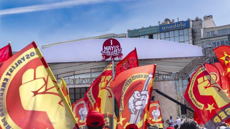 Ankara/die Türkei 1. Mai 2019: Internationale Arbeitskraft-Tagesfeier in Quadrat Tandogan Anadolu, 1 Mayis Emek VE Dayanisma Gunu lizenzfreies stockbild
