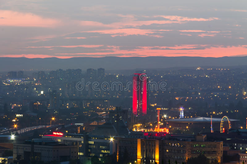 ANKARA. JUN 15: A view of city skyline at sundown, Jun 15, 2013 in  ,  is the capital of Turkey and the country's second largest city after Istanbul royalty free stock photography