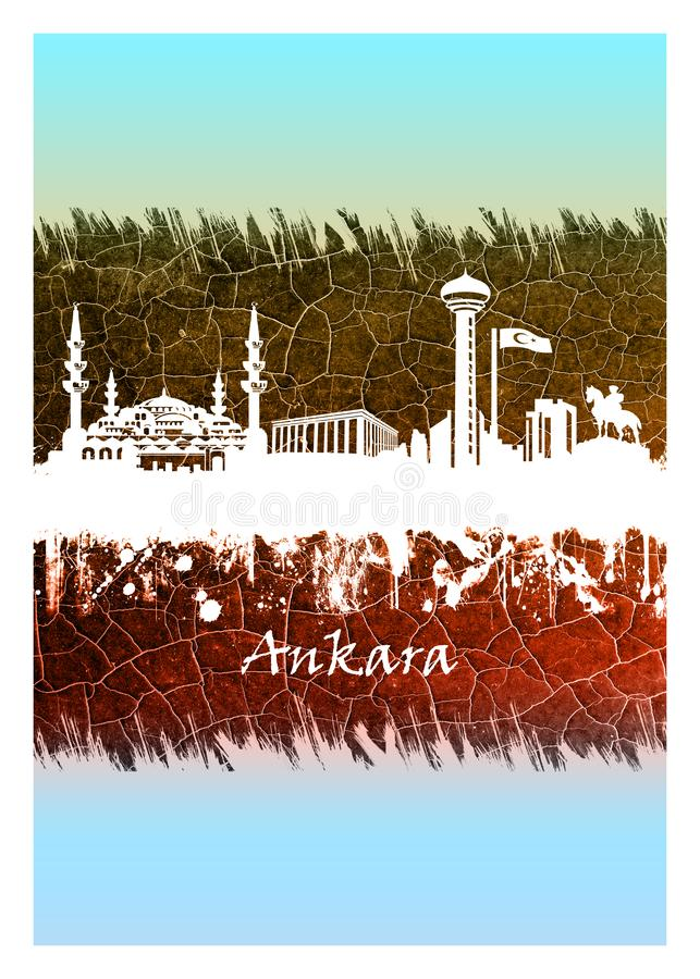 Ankara linia horyzontu biel i b??kit ilustracji