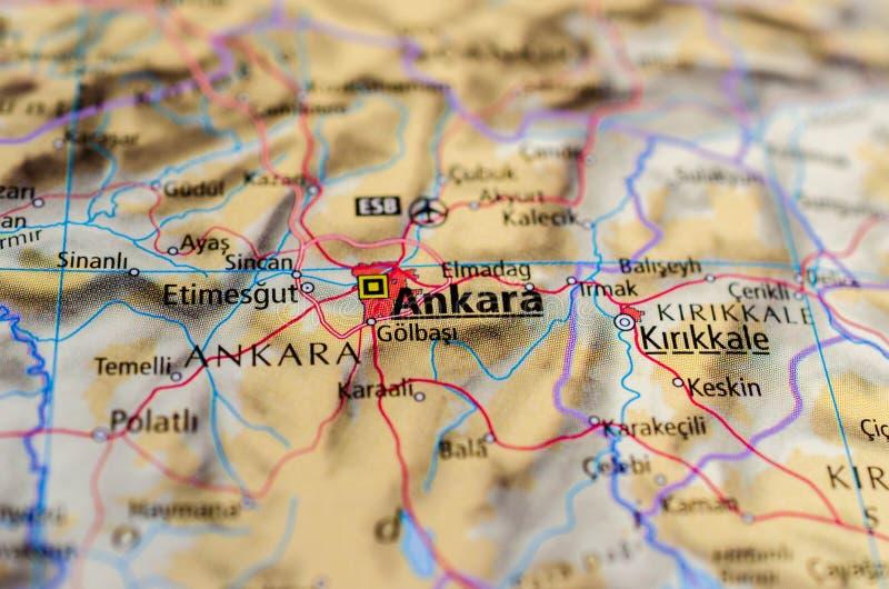 Ankara on map. Close up shot of Ankara. Ancyra. is the capital of the Republic of Turkey royalty free stock photo