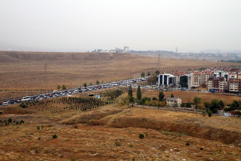 In Ankara`s evening traffic, cars are barely moving. Busy morning traffic in Ankara stock photos