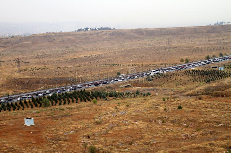 In Ankara`s evening traffic, cars are barely moving. Busy morning traffic in Ankara stock photo