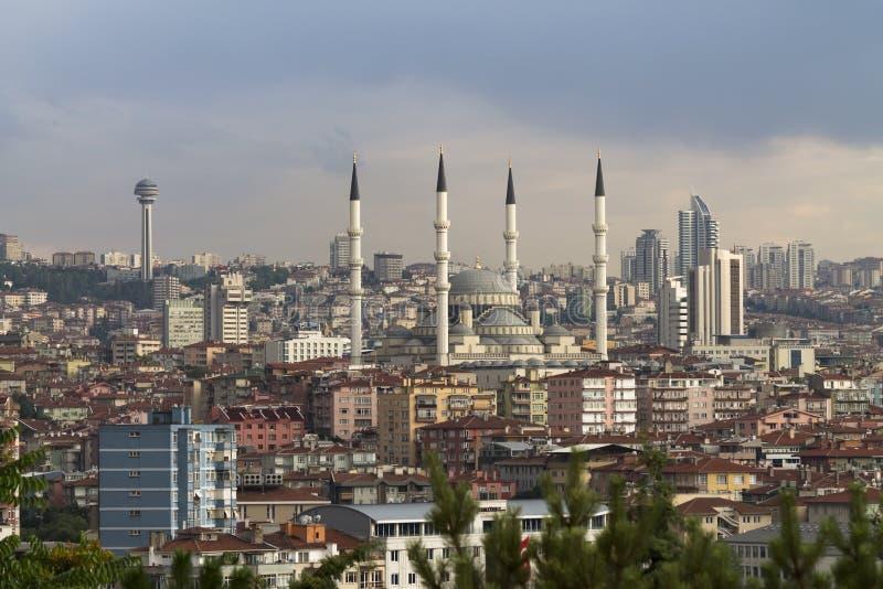 Ankara, Turkey. Ankara cityscape with Kocatepe mosque and the atakule tower royalty free stock images