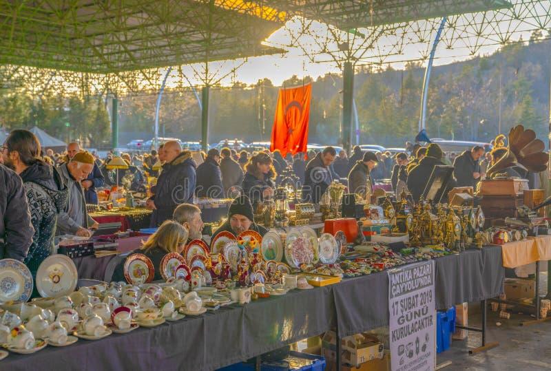 Ankara/Turkey-February 03 2019: Various antique jars, jugs, pitchers at flea market, Ayranci Antika Pazari, antique bazaar stock image