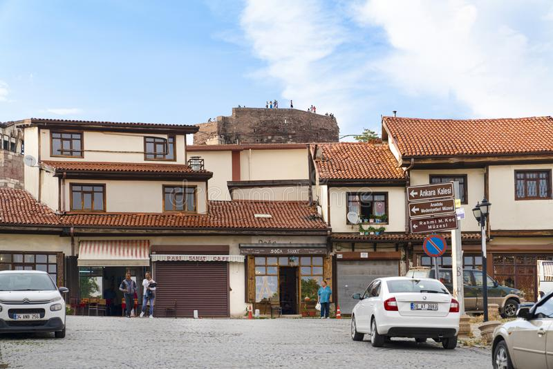 Ankara/Turkey-June 16 2019: Traditional Turkish houses and Ankara Castle in background royalty free stock images