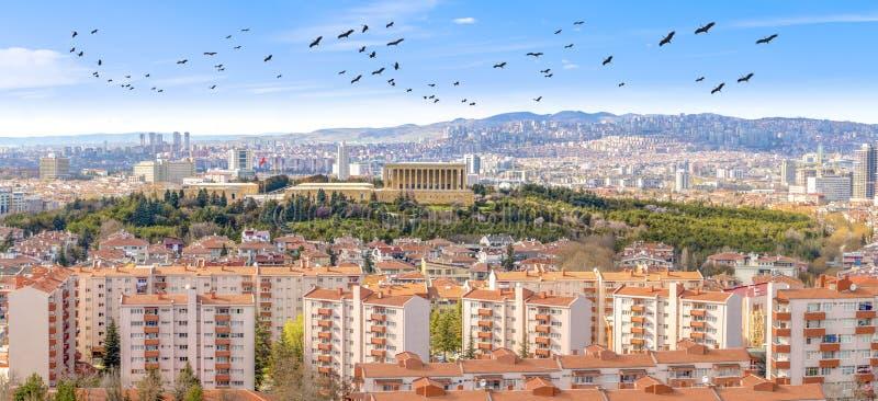 Ankara/Turkey-March 20 2019: Panoramic Ankara view with Anitkabir royalty free stock photos