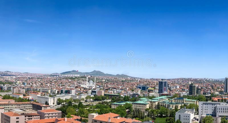 Ankara/Turkey-May 15 2019-Aerial view of The Grand National Assembly of Turkey and Kocatepe Mosque with cityscape in background royalty free stock photography