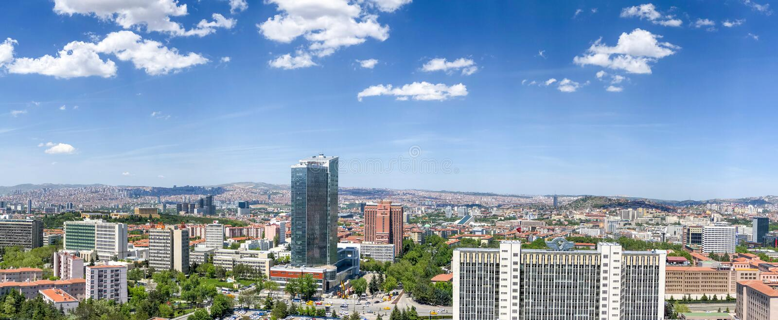 Ankara/Turkey-May 15 2019:Aerial view of newly built Turkish Statistical Institute TUIK building with cityscape royalty free stock photography