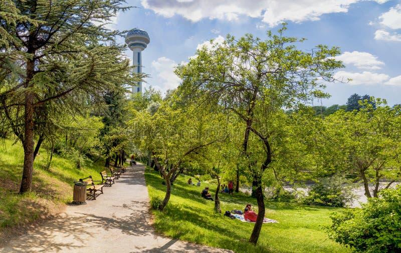Ankara/Turkiet Maj 26 2019: Folket har picknicken p? botaniska tr?dg?rden och Atakule i bakgrund p? v?ren arkivbild