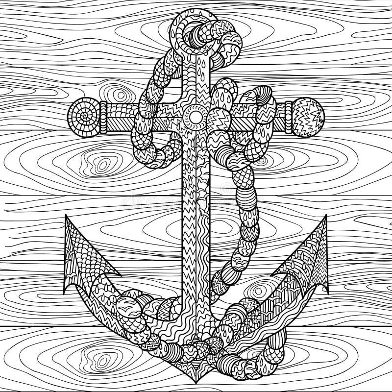 Ankare och rep i zentanglestilen vektor illustrationer