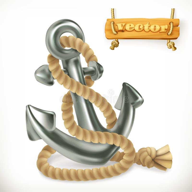 Ankare symbol för vektor 3d royaltyfri illustrationer
