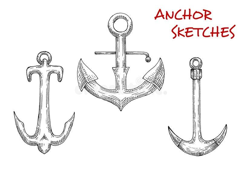 Ankaren för gammalt materiel skissar av seglingskepp royaltyfri illustrationer