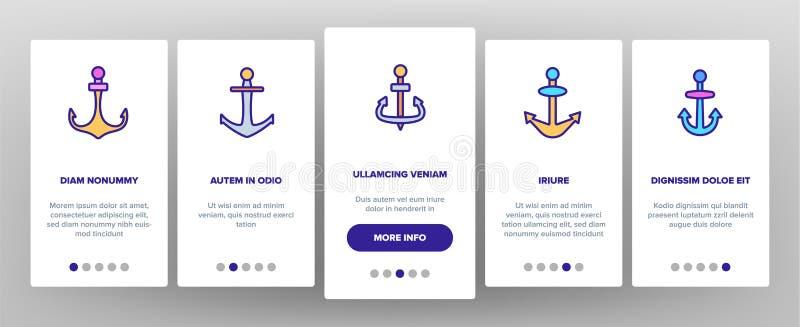 Ankaren för Onboarding för skepputrustningvektor skärm för sida mobil App stock illustrationer