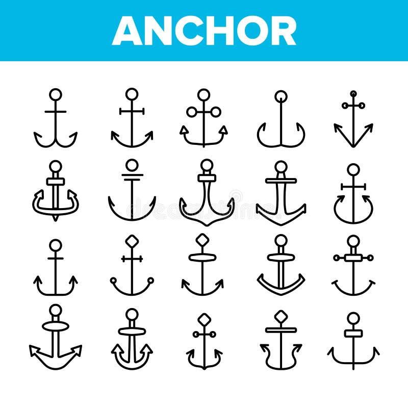 Ankaren uppsättning för symboler för skepputrustningvektor linjär stock illustrationer