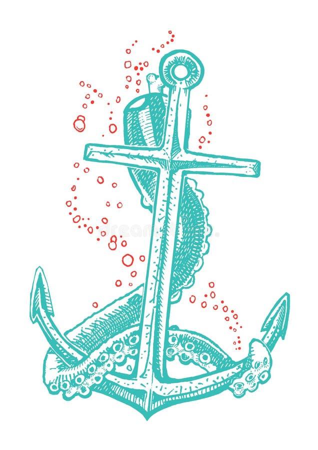 Ankartatuering stock illustrationer