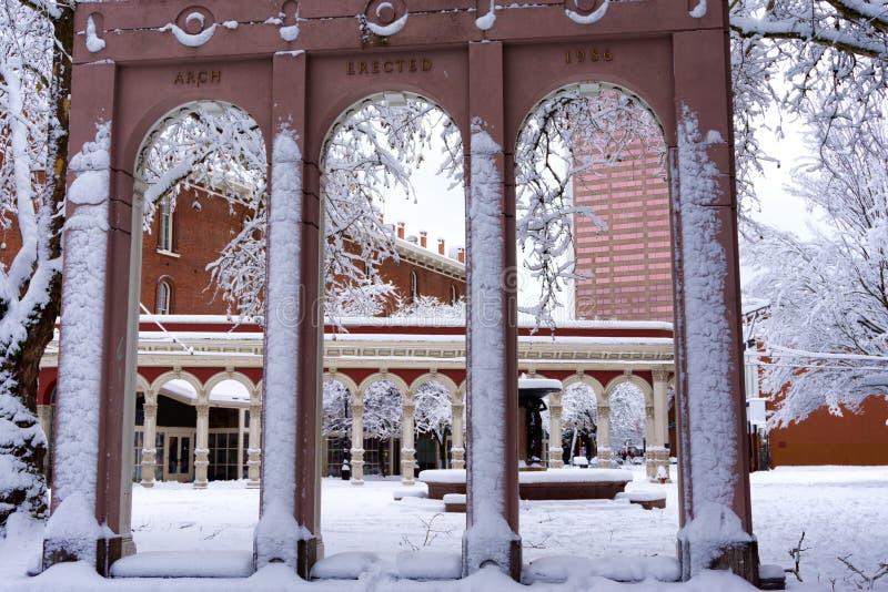 Ankeny广场在波特兰 免版税库存图片
