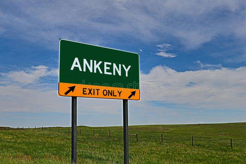 US Highway Exit Sign for Ankeny. Ankeny composite Image `EXIT ONLY` US Highway / Interstate / Motorway Sign royalty free stock photos