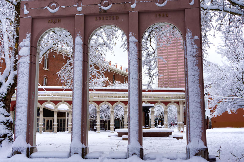 Ankeny Square in Portland. Oregon after a huge snowstorm royalty free stock image