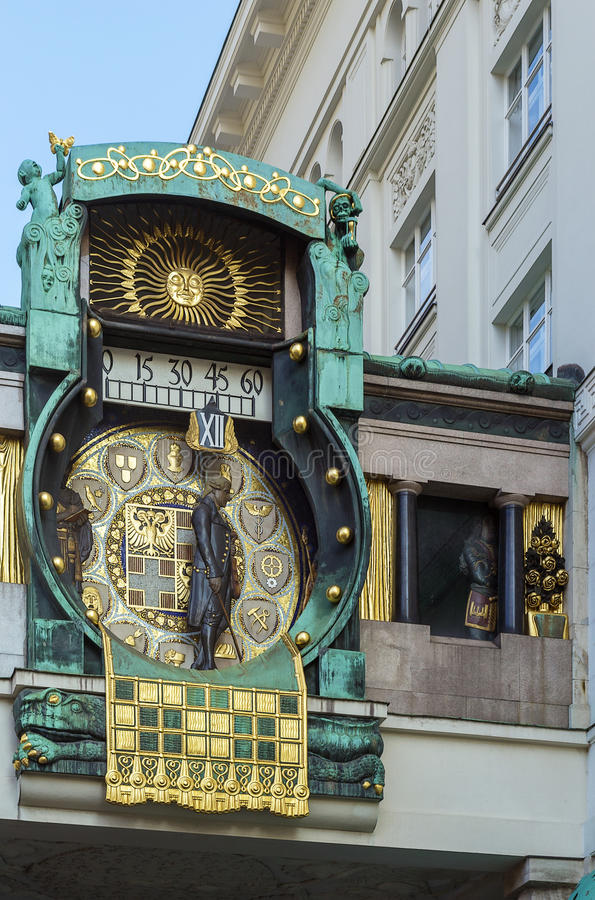 Anker Clock, Vienna. Anker Clock was designed by Franz Matsch between 1911 and 1917 for the prospering Anker insurance company stock photos