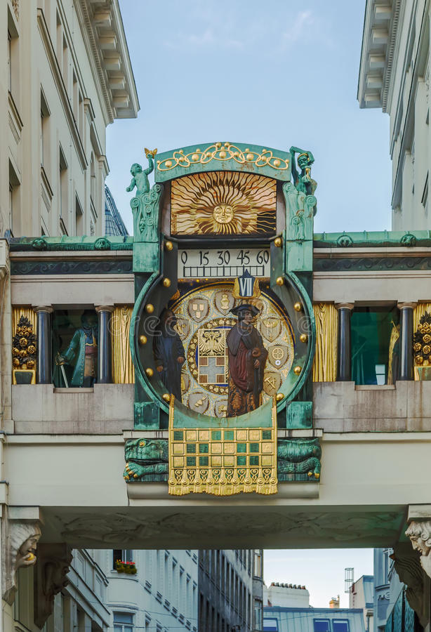 Anker Clock, Vienna. Anker Clock was designed by Franz Matsch between 1911 and 1917 for the prospering Anker insurance company, Vienna, Austria stock photography