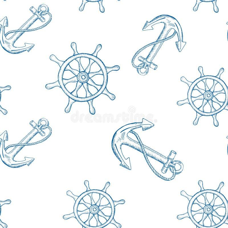 Anker die naadloos patroon sturen Blauw schetspatroon op witte achtergrond stock illustratie