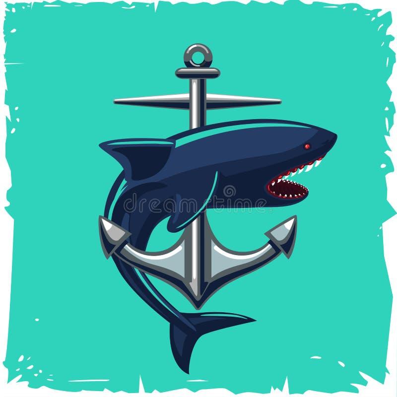 Anker en haai Geïsoleerde beeldverhaalillustratie Uitstekende zeemanstatoegering stock illustratie