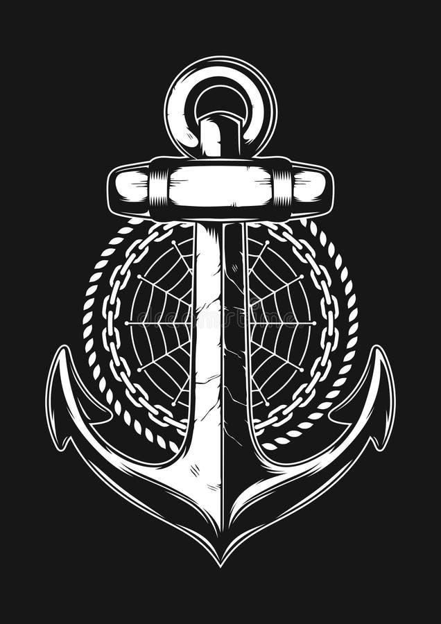 Anker met kabel, ketting, en spinneweb stock illustratie