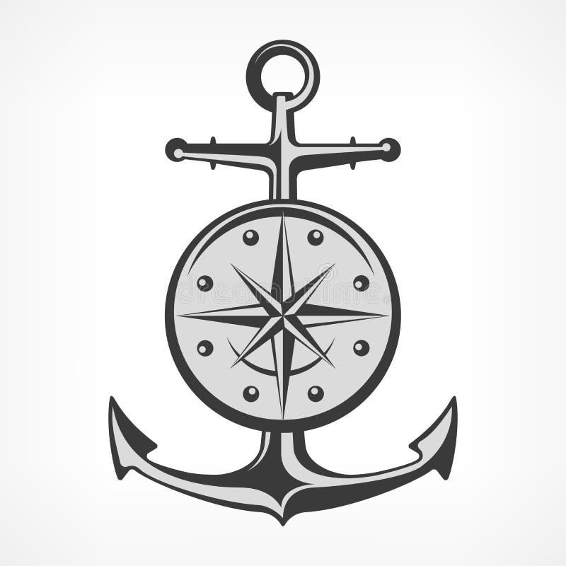 Anker met kompas royalty-vrije illustratie