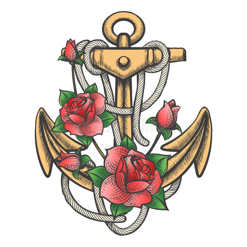 Anker mit Rose Flowers stock abbildung