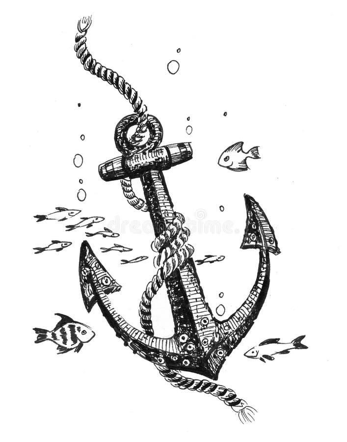 Anker onderwater stock illustratie