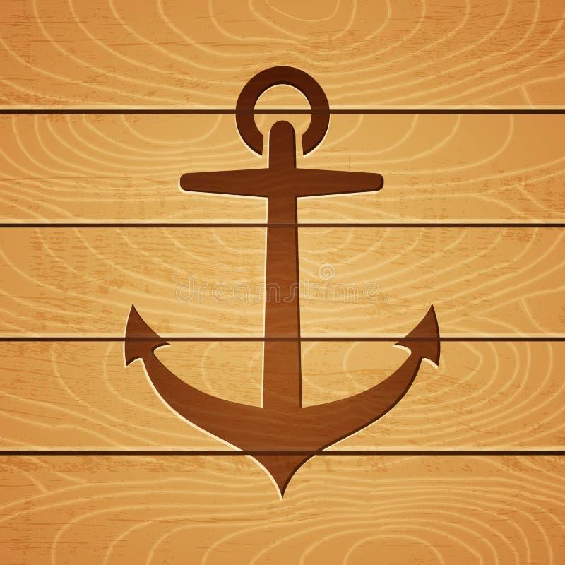Anker op houten achtergrond stock illustratie