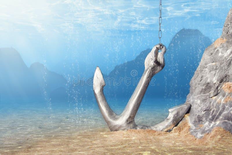 Anker Unterwasser stockfotografie
