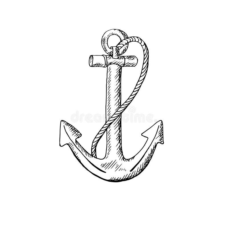 anker Zwart-wit schetspatroon op witte achtergrond royalty-vrije illustratie