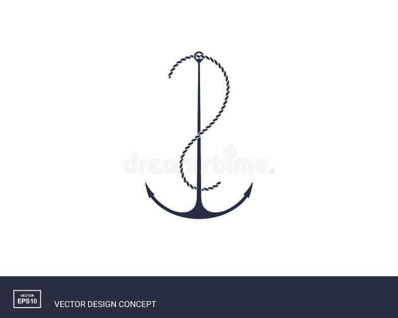Ankerembleem Het ontwerp van de jachtstijl royalty-vrije illustratie
