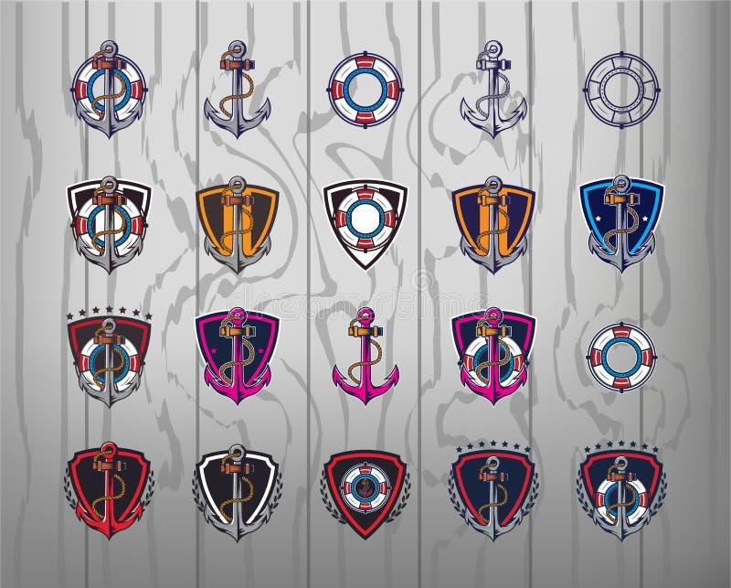 Ankeremblemen Reeks van 20 ankeretiketten voor uw zaken Moderne ontwerpsjablonen voor sport royalty-vrije illustratie