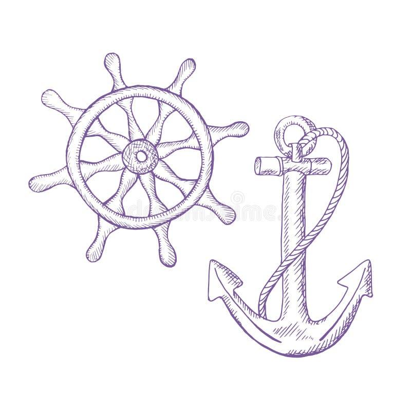 Ankerleiding Violet schetspatroon op witte achtergrond stock illustratie