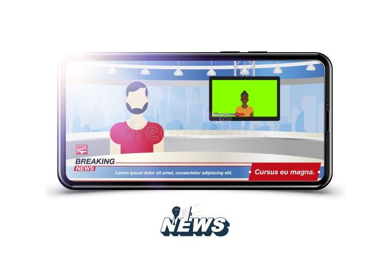 Ankermann in den letzten Nachrichten Schablone der Fahnen-letzten Nachrichten im realistischen Smartphone auf weißem Hintergrund  stock abbildung
