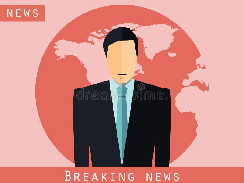 Ankermann, der am Schreibtisch sitzt Letzte Nachrichten, Studioreporter Ankermannsendungsnachrichten Der Nachrichtenansager Vekto lizenzfreie abbildung