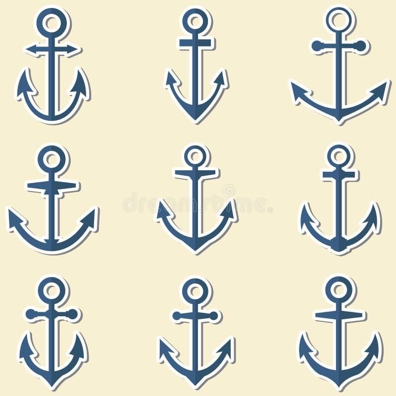 Ankers in blauwe kleuren Ankersymbolen of embleemmalplaatje vector illustratie